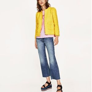 Zara Yellow Tweed Jacket with Frayed Hem